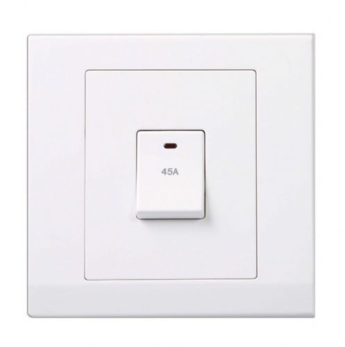 Simplicity White Screwless 45A DP Single Cooker Switch with Neon 07300